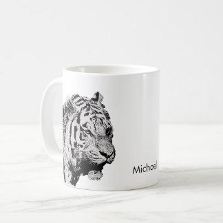 Siberische zwarte witte de schets persoonlijke koffiemok