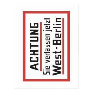 Sie het Teken verlassen jetzt van West-Berlijn, Briefkaart