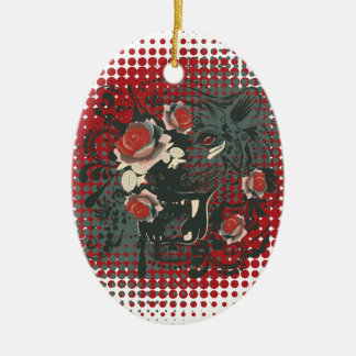 Sier Portret 2 van de Tijger Keramisch Ovaal Ornament