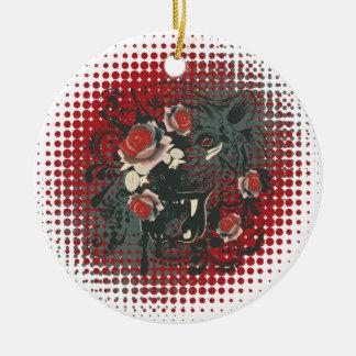 Sier Portret 2 van de Tijger Rond Keramisch Ornament