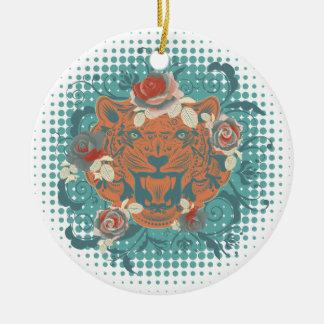 Sier Portret 3 van de Tijger Rond Keramisch Ornament