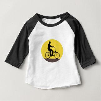 Silhouet Ovale Retr van de Fiets van de Ruiter van Baby T Shirts