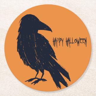 Silhouet van de Kraai van Halloween het Zwarte Ronde Onderzetter