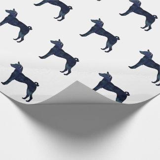 Silhouet van de Waterverf van de Hond van Basenji Cadeaupapier