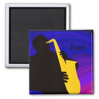 Silhouet van een jazzspeler, blauw & paars magneet