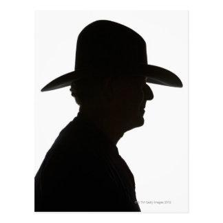 Silhouet van man in profiel traditioneel dragen briefkaart