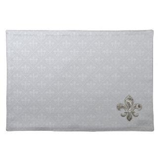 Silver Fleur DE Lis Cloth Placemats