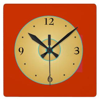 Simplistische Rode Geel met Klok Green>Kitchen Vierkante Klok