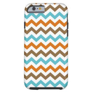 Sinaasappel en het Patroon van Chevrons Aqua Tough iPhone 6 Hoesje