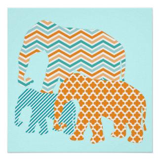 Sinaasappel en het Poster van Olifanten Aqua