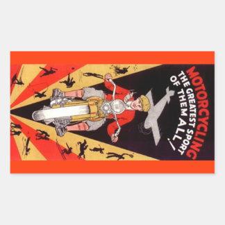 Sinaasappel van Vintage Promo van het Motorrijden Rechthoekige Sticker