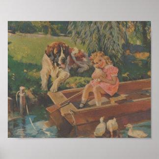 Sint-bernard, Eenden, Meisje in boot Poster