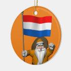 Sinterklaas met Vlag van Nederland Rond Keramisch Ornament
