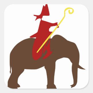 Sinterklaas op een olifant vierkante sticker
