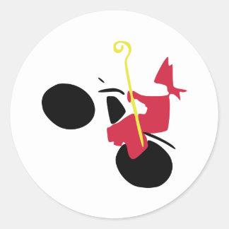Sinterklaas op motor ronde sticker
