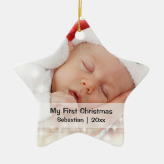 Sjabloon van de Foto van de baby de Eerste Keramisch Ster Ornament