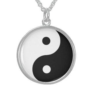 Sjabloon van de Illustratie van Yang van Yin de Sterling Zilveren Ketting