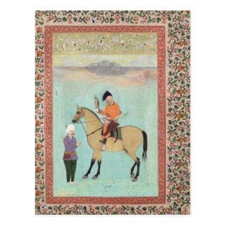 Sjah Abbas op een paard die een valk houden Briefkaart
