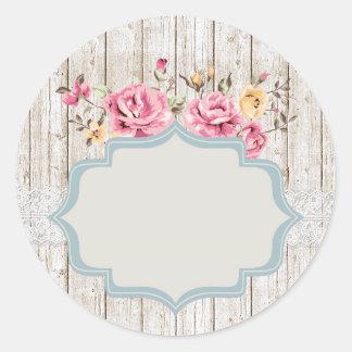 Sjofel Elegant Bloemen Rustiek Houten & Vintage Ronde Sticker