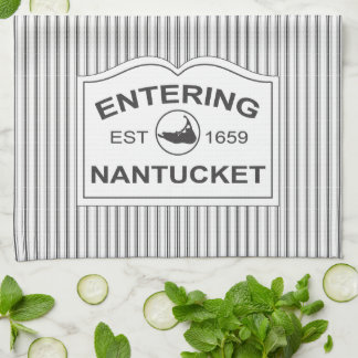 Sjofel Elegant Teken Nantucket in Zwarte & Witte S Theedoek