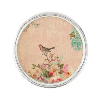 Sjofele elegant, vogel, vlinder, kant, bloemen, reverspeld