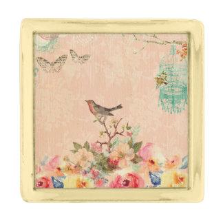 Sjofele elegant, vogel, vlinder, kant, bloemen, vergulde reverspeld