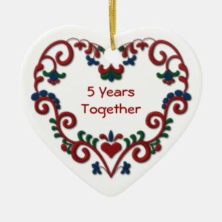 Skandinavisch Hart 5 Jaar samen Keramisch Hart Ornament