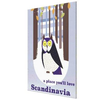 Skandinavische Uil in het bos Vintage poster Canvas Afdruk