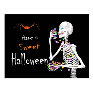 Skelet die het Snoep van Halloween eten Briefkaart