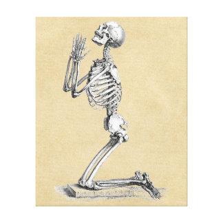 Skelet in Gebed Gallerij Wrapped Canvas