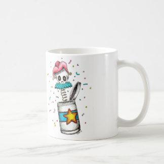 Skeletachtige clown-in-de-doos koffiemok