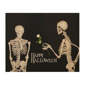 Skeletten Grappig Romantisch Gelukkig Halloween Hout Afdruk