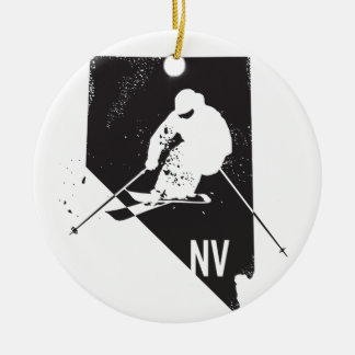 Ski Nevada Rond Keramisch Ornament