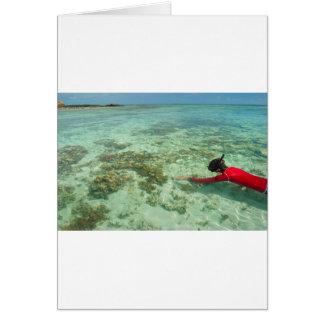Skindiver die in een tropisch zee zwemt wenskaart