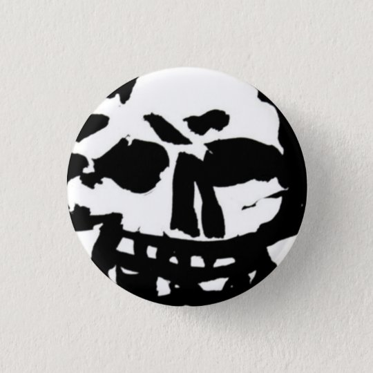 Skull button zwart wit