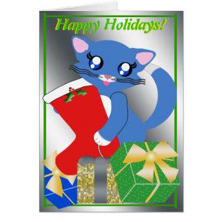 Skye Toon Kitten Holiday Stocking Card Kaart