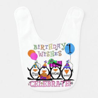 Slab van de Verjaardag van gekke Pinguïnen de 1st Baby Slabbetje