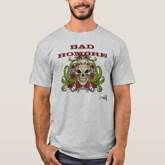 Slechte Hombre met Schedel, Doornen en Rozen T Shirt