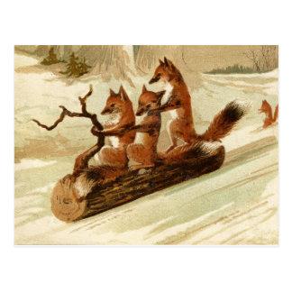 Sleeënde Vossen Vintage Kerst Briefkaart