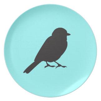 Slikt het het silhouet elegante blauw van de mus melamine+bord