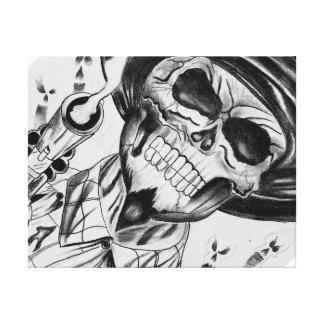 Slinger van het Pistool van het skelet Cowboy Stretched Canvas Afdrukken