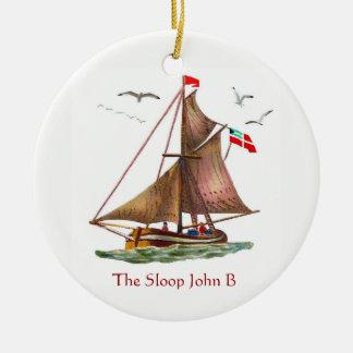 Sloep John B Rond Keramisch Ornament