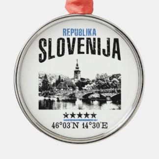 Slovenië Zilverkleurig Rond Ornament