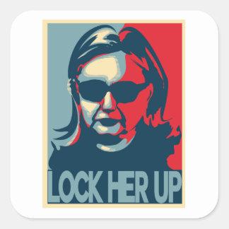 SLUIT HAAR OMHOOGGAANDE anti-Hillary Vierkante Sticker