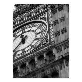 Sluit omhoog op Big Ben in zwart-wit Briefkaart