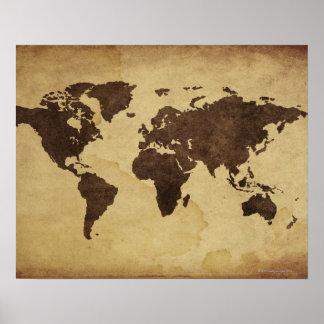 Sluit omhoog van antiek wereldkaart 3 poster
