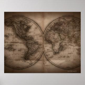 Sluit omhoog van antiek wereldkaart 5 poster