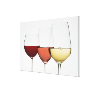 Sluit omhoog van glazen verschillende wijnen canvas print