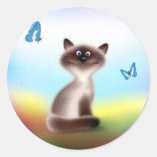 Sluwe Kat & Vlinders Ronde Sticker