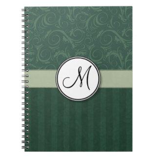 Smaragdgroene Blauwgroen BloemenBosjes & Strepen Notitieboek